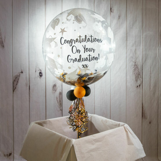 Personalised Black & Gold Feathers Graduation Hats Print Bubble Balloon